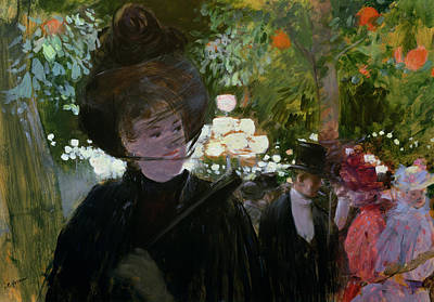 Evening Dress Painting - The Garden In Paris by Jean Louis Forain