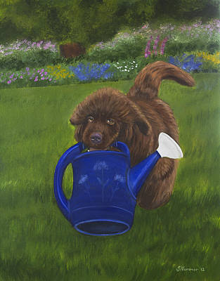 Newfie Painting - The Gardening Assistant by Sharon Nummer