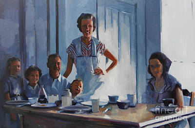 Blue Table Painting - The Gathering by Deb Putnam