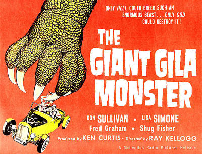 Horror Cars Photograph - The Giant Gila Monster, Half-sheet by Everett