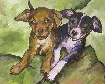 Puppy Painting - The Girls by Sandy Tracey