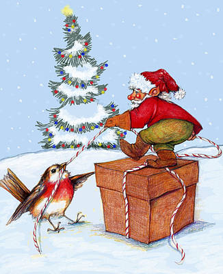Finch Mixed Media - The Gnome The Bird And The Xmas Package by Peggy Wilson