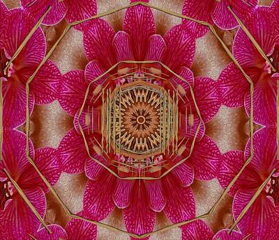 Fineart Mixed Media - The Golden Orchid Mandala by Pepita Selles