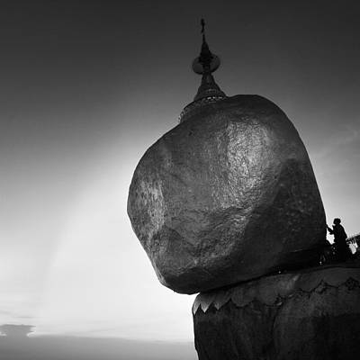 Buddhist Monks Photograph - The Golden Rock by Nina Papiorek