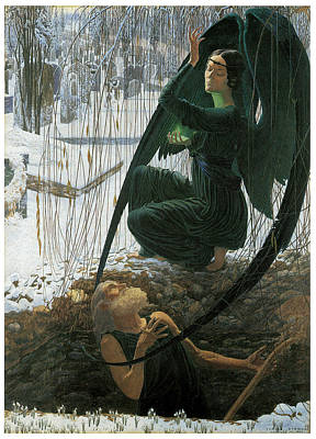 Cemetary Painting - The Grave Digger's Death by Carlos Schwabe