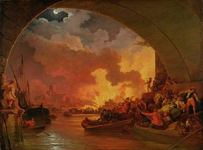 The Great Fire Of London Print by Philip James de Loutherbourg