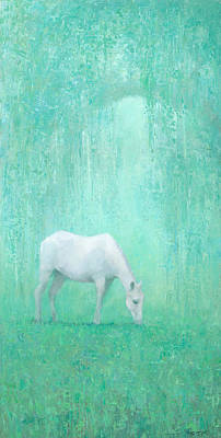 Horse Art Painting - The Green Glade by Steve Mitchell