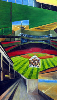 Homerun Drawing - The Green Monster by Chris Ripley