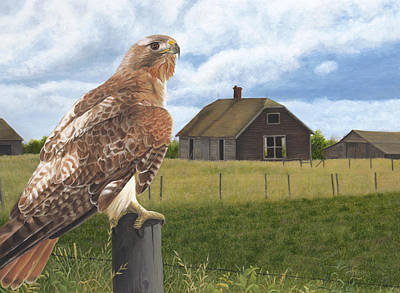 Red Tail Hawk Painting - The Grounds Keeper by Tammy  Taylor
