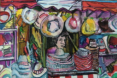 Amusements Mixed Media - The Hat Man by Mindy Newman