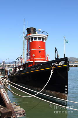The Hercules . A 1907 Steam Tug Boat At The Hyde Street Pier In San Francisco California . 7d14138 Print by Wingsdomain Art and Photography