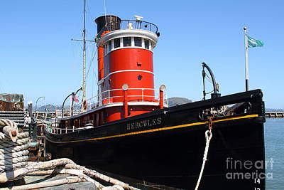 The Hercules . A 1907 Steam Tug Boat At The Hyde Street Pier In San Francisco California . 7d14141 Print by Wingsdomain Art and Photography