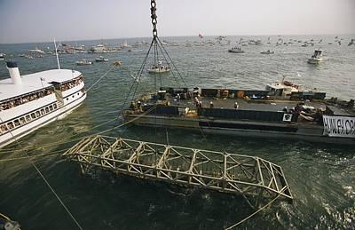 Cranes And Derricks Etc Photograph - The Hunley Submarine Is Raised by Ira Block