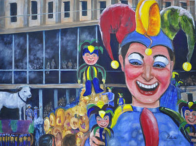 Mardi Gras Painting - The Jester by Terry Sita