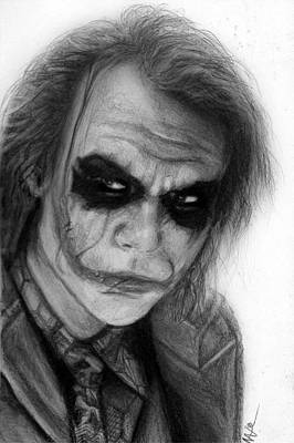 Nats Drawing - The Joker by Nat Morley