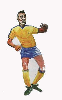 Pele Drawing - The King Pele by Emmanuel Baliyanga
