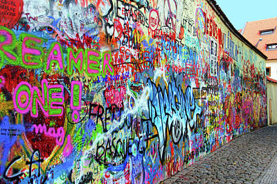 Group Colored Beatles Photograph - The Lennon Wall by Mariola Bitner