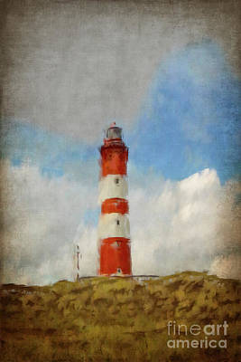 Lighthouse Painting - The Lighthouse Amrum by Angela Doelling AD DESIGN Photo and PhotoArt