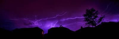 The Lightning Over Avery Neighborhood Print by Lisa  Spencer