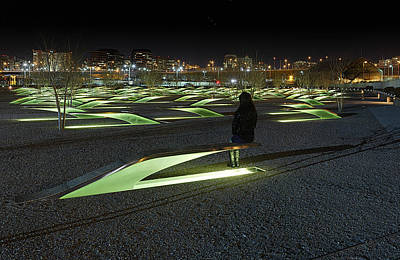 The Lonely Tourist At Pentagon Memorial Print by Metro DC Photography
