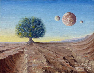 Planetary System Painting - The Lorn Tree From Arboregal by Dumitru Sandru