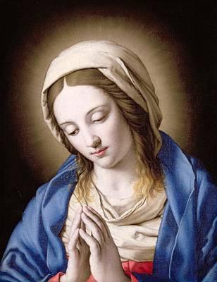 Devotional Painting - The Madonna Praying by Il Sassoferrato