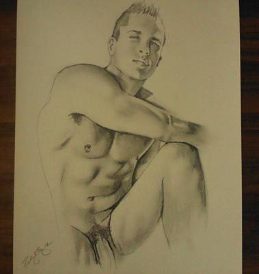 Hunk Drawing - The Male Poser by Bobby Boyer
