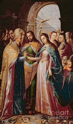 The Marriage Of Mary And Joseph Print by Mexican School