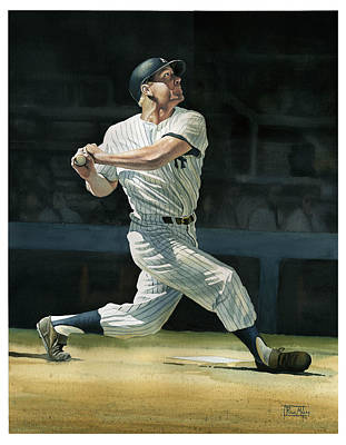 Baseball Painting - The Mick by Rich Marks
