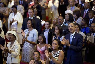 Obama Family Photograph - The Obama Family Attend An Easter by Everett