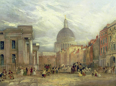 Horse Drawn Carriage Painting - The Old General Post Office And St. Martin's-le-grand by George Sidney Shepherd