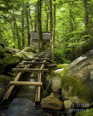 The Old Grist Mill Print by Smokey Mountain  Art