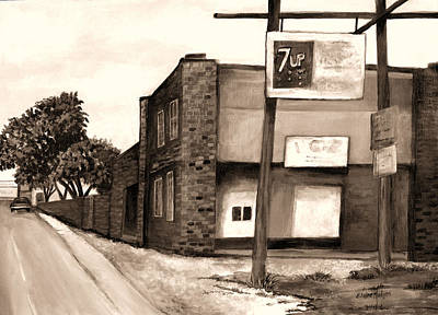 Seven Up Sign Painting - The Old Ice House In Sepia by Elaine Hodges