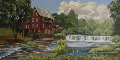 Egg Tempera Painting - The Old Mill At Shoulderbone by Peter Muzyka