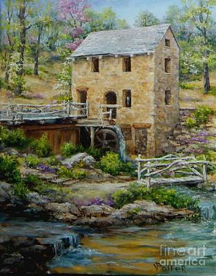 The Old Mill In Spring Print by Virginia Potter