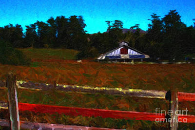 The Old Ranch At Dusk . Painterly Style Print by Wingsdomain Art and Photography