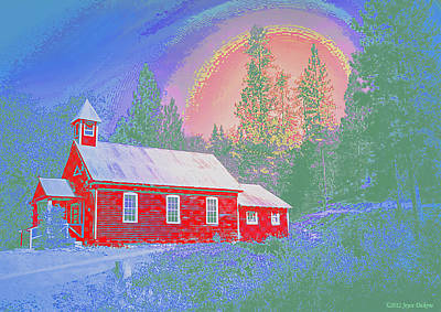 The Old Schoolhouse Library Print by Joyce Dickens