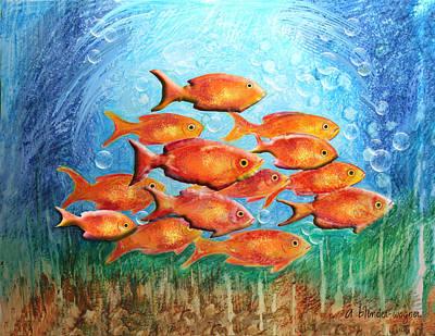 Fish Digital Art - The Orange Brigade by Arline Wagner