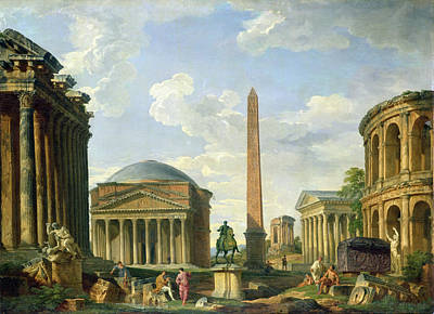 Temple Painting - The Pantheon And Other Monuments 1735 by Giovani Paolo Panini