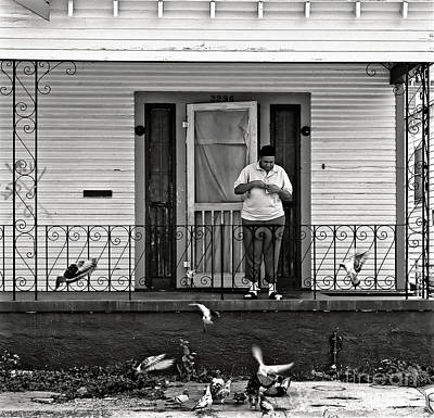 Screen Doors Photograph - The Pigeon Lady - Black And White by Kathleen K Parker