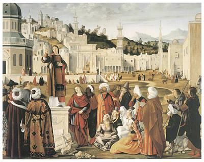 Sermon Painting - The Preaching Of Saint Stephen In Jerusalem by Vittore Carpaccio