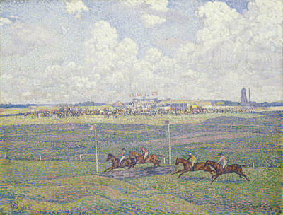 The Racecourse At Boulogne-sur-mer Print by Theo van Rysselberghe