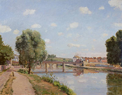 Rural Landscapes Painting - The Railway Bridge by Camille Pissarro