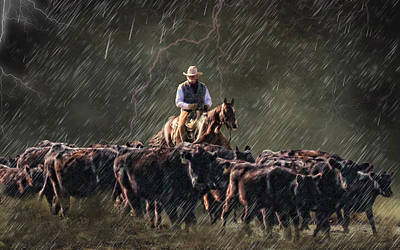 Cattle Drive Digital Art - The Range Boss by Dawn Young