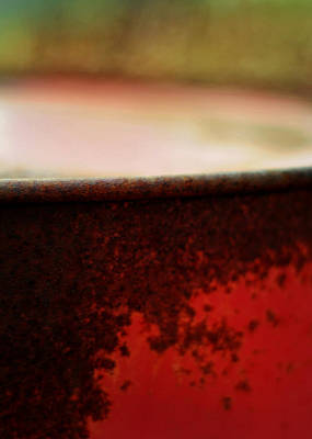 Rusted Barrels Photograph - The Red Barrel by Rebecca Sherman