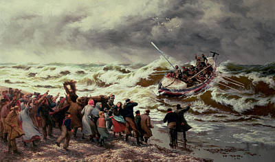 Storm Clouds Painting - The Return Of The Lifeboat by Thomas Rose Miles