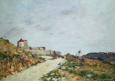 Horse And Cart Painting - The Road To The Citadel At Villefranche by Eugene Louis Boudin