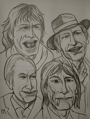 Rolling Stones Drawing - The Rolling Stones by Pete Maier