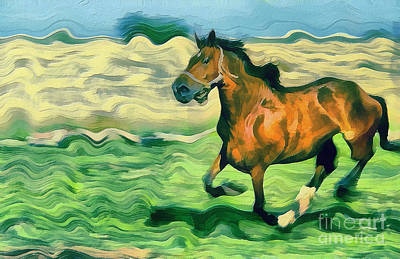 Gold Lame Painting - The Running Horse by Odon Czintos