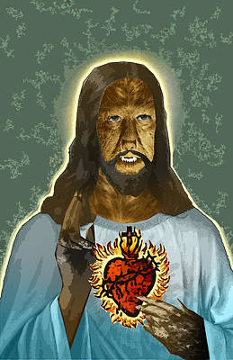 The Sacred Heart Of Wolfman Jesus Print by Travis Burns